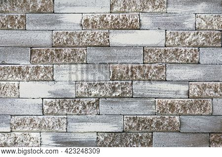 Pastel Brick Wall. Grey And Light Brown Masonry Pattern. Cement Block Painted Texture, Grunge Archit