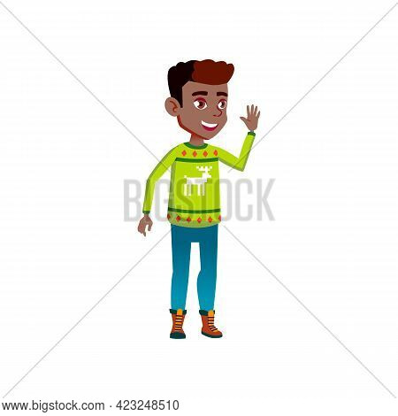 Cheerful African Boy Glad To See Grandparents On Family Party Event Cartoon Vector. Cheerful African