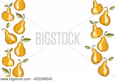 Pear Icon Set Solated On White Background. Frame With Natural Delicious Fresh Ripe Tasty Fruit. Temp