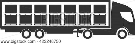 Icon Of Cargo Delivery By Cargo Transport. Delivery Service.