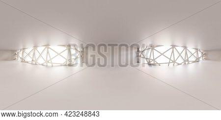 Full 360 Degree Panorama Of Futuristic White Empty Building Interior 3d Render Illustration Hdri Hdr