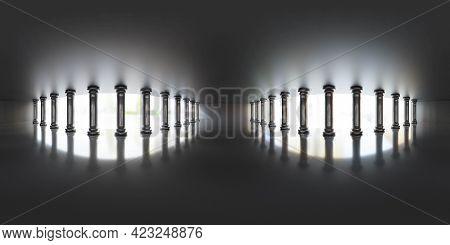 Full 360 Degree Panoramic View Of Dark Hall 3d Render Illustration Hdri Hdr Vr Style