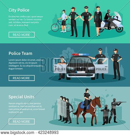 Police People Flat Horizontal Banners Set Of Special Units Mounted Police City Police And Police Tea