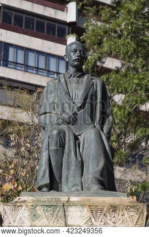 Caceres, Spain - Dec 1st, 2020: Jose Maria Gabriel Y Galan Monument. Spanish Poet In Castilian And E