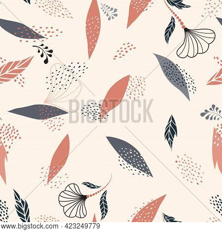 Floral Dotted Seamless Pattern With Autumnal Leaves And Flowers. Fall Nature Ornamental Drawn Textur