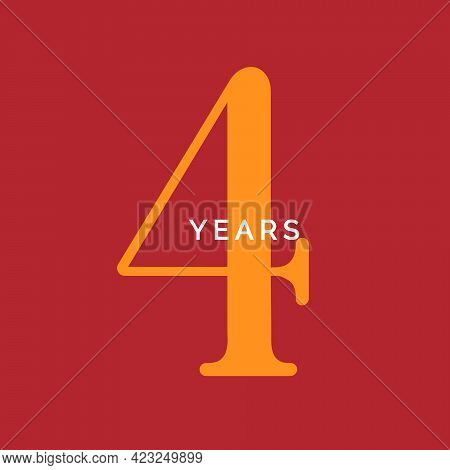 Four Years Symbol. Fourth Birthday Emblem. Anniversary Sign, Number 4 Logo Concept, Vintage Poster T
