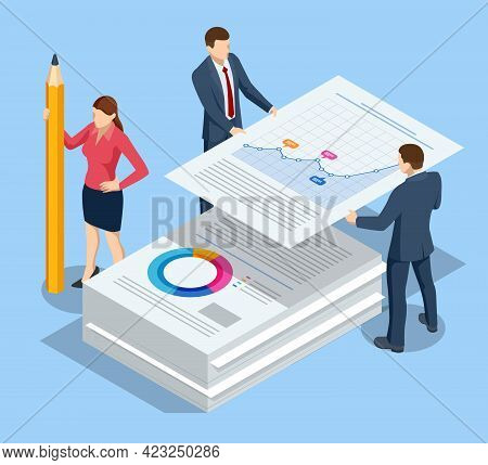 Isometric Stack Of Documents. Bureaucracy Concept. Data Analysis, Business Statistic, Management, Co