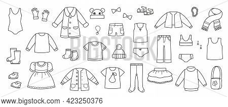 Collection Of Baby Clothes Vector. Coloring Book Wardrobe Items Set. Baby Clothes Black And White. I