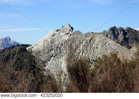 Fantastic Landscape Valley Of Monte Pasquilio And The Apuan Alps On The Summit