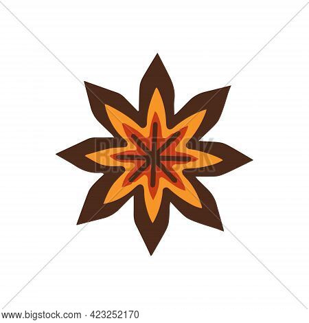 Star Anise On A White Background. Seasoning. Vector Illustration.