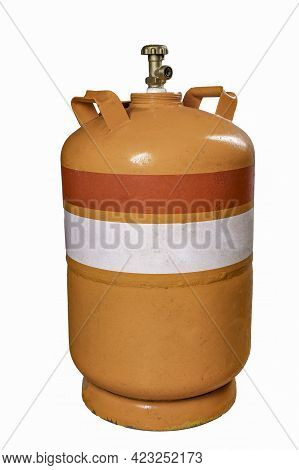 Metal Cylinder For Storing Propane-butane Gas. Container For Carrying Compressed Gas. Isolated Backg