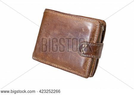 Leather Wallet With Documents. Method Of Storing Payment Cards And Money. Isolated Background.