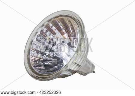 Halogen Bulb In Plastic Housing. Accessories For Illuminating The Space In The Household. Isolated B