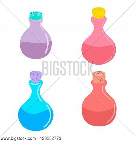 Bottle With A Magic Potion. Elixir. Vector Illustration. Design For Halloween. Bottle Of Witch Potio