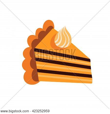A Piece Of Pumpkin Pie.american Homemade Pumpkin Pie With Whipped Cream. Vector Illustration
