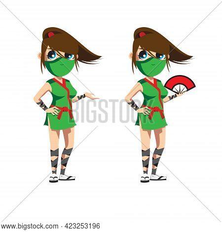 Ninja Girl Or Kunoichi Vector Illustration In Simple Anime Style Vector Illustration