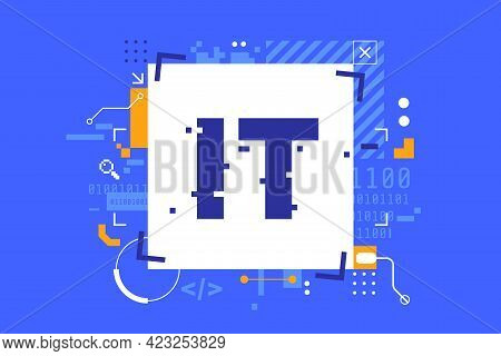 Information Technology Abstract Background. It Banner Concept In Digital Glitch Style. Decorative Te