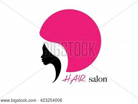 Logo Round Design Hair Salon Beauty Woman Face Profile And Hair Dryer Hood. Colorful Icon Women Prof