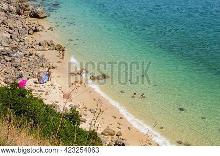 Setubal, Portugal, May 29, 2021: Beautiful landscape view of the National Park Arrabida in Setubal, Portugal