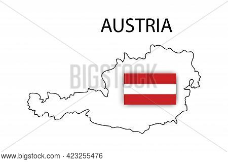 Austria Transparent Map On White Background. Silhouette Map. National Flag Of Austria. Vector Illust