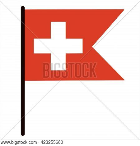 Switzerland Flag. Rectangular Banner With A V-cut. Pennant Of The Country On A Stick. White Cross On