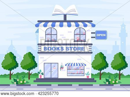 Bookstore Vector Illustration Is A Place To Buy Books Or Place Read With Flat Style Design