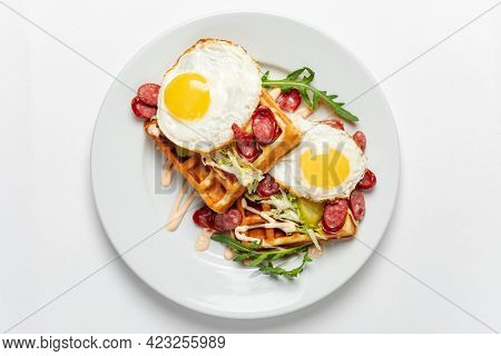 belgian waffle with fried egg