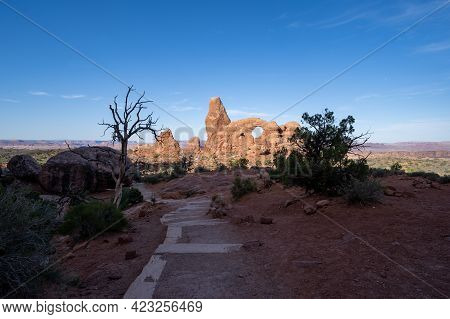 Morning Sunrise View Of The Path To Turret Arch In Arches National Park In Moab Utah
