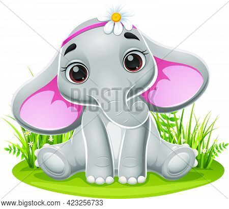 Vector Illustration Of Cartoon Baby Elephant Sitting In The Grass