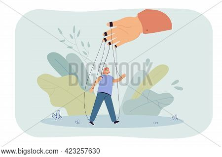 Hand Holding Girl On Strings Flat Vector Illustration. Woman Acting Against Her Will. Manipulation,