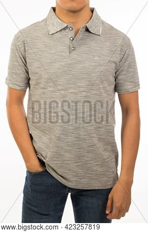 Latino Young Adult With Sepia Shirt In His 30s Pose In A Relaxed Stand Isolated In A White Backgroun