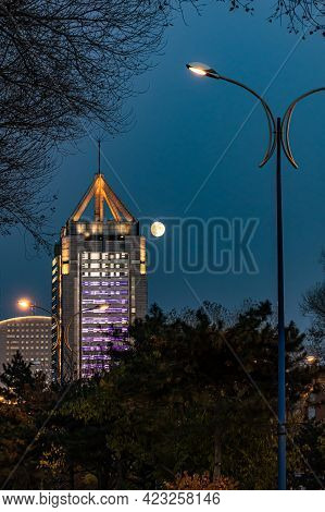 Cityscape Of Changchun City In Moonlight, China