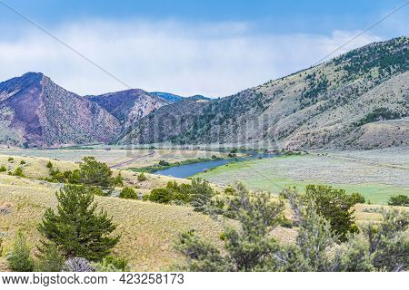 An Overlooking Landscape View Of Lewis And Clark Cavern Sp, Montana