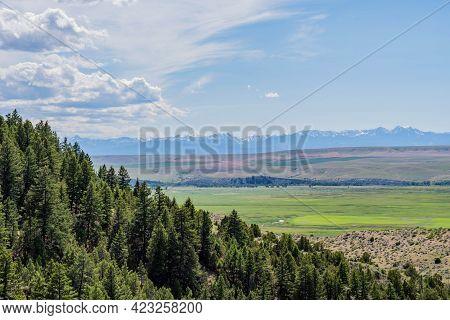An Overlooking Landscape View Of Madison Buffalo Jump Sp, Montana