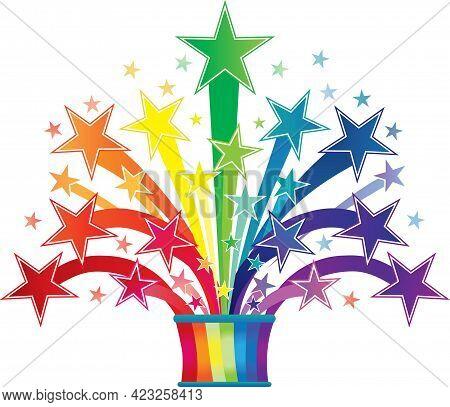 Rainbow Stars Starburst Fireworks Bright Colorful Design