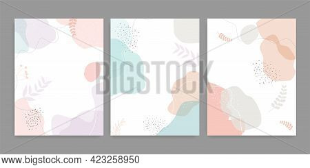 Vector Set Of Fluid Shapes Pastel Colors Cover. Hand Drawn Fluid Shapes Background.vector Illustrati