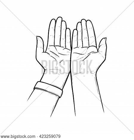 Outstretched Hands Praying For Help And Care. Open Empty Hands Asking For Protection. Sketch Vector