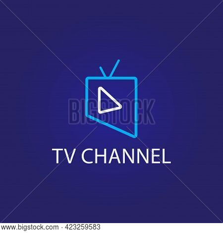Online Tv Channel Logo On Dark Blue Background. Monoline Logo Design Template With Television And Pl