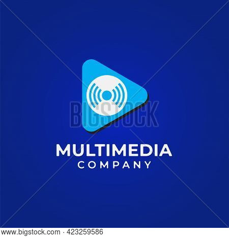 Vector Illustration Of Play Button With Spinning Disc And Live Feed Icon. Multimedia And Broadcastin