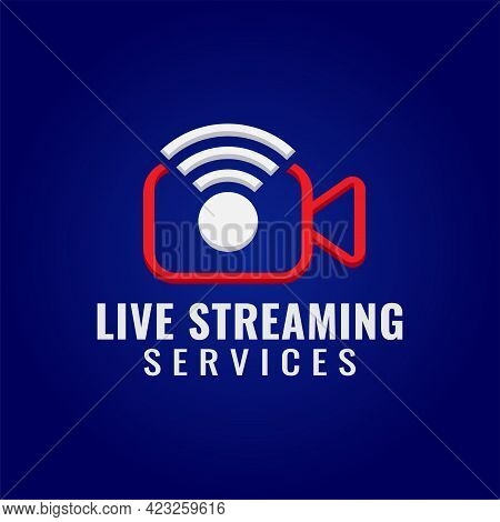Live Streaming Services Company Logo Design Template. Pictorial Marks Logo Concept With Video Camera