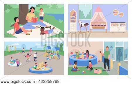 Childcare And Daycare Flat Color Vector Illustration Set. Reading Book. Kindergarten Children And Te