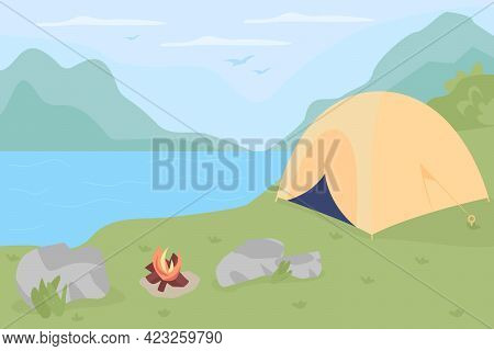 Camping Spot In Wilderness Flat Color Vector Illustration. Campground With Bonfire For Resting Trave