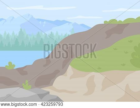 Rocky Highlands For Hiking Flat Color Vector Illustration. Spot In Nature For Trekking And Climbing.