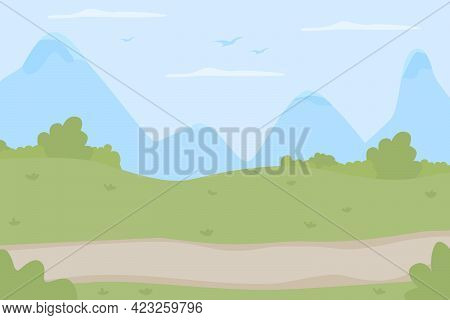 Scenic Trail For Trekking Flat Color Vector Illustration. Idyllic Route For Walking Trip To Countrys