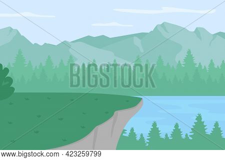 Scenic Highland Plato Flat Color Vector Illustration. Forest Clearing With View On Lake. Spot For Ca