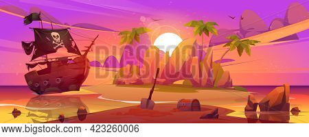 Pirate Ship Moored On Secret Island With Treasure Chest At Sunset Landscape. Filibuster Loot And Sho