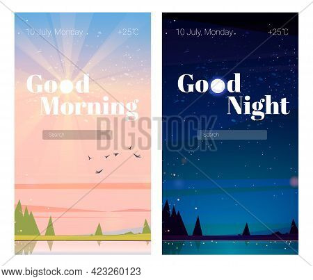 Mobile Phone Onboard Screens, Good Night And Good Morning Pages With Nature Landscape, Date And Temp