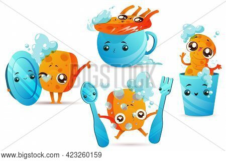 Cleaning Sponge With Dishes, Cute Cartoon Mascot With Funny Face And Foam Bubbles Isolated On White