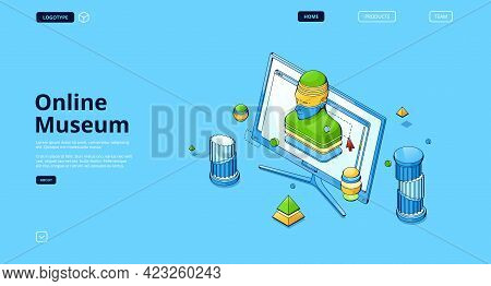 Online Museum Banner. Concept Of Virtual Art Gallery, Digital Exhibition. Vector Landing Page With I