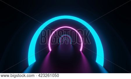 Futuristic Abstract Blue Neon Pink Circle Glow Glow Tunnel Or Portal Frame Design In Dark Room Backg